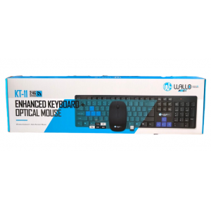 Kit Teclado+Mouse Óptico Wireless 2.4ghz KT-11 Usb WALLO