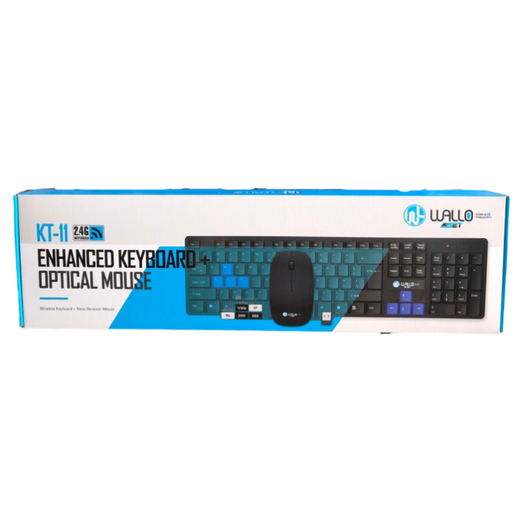 Kit Teclado+Mouse Óptico Wireless 2.4ghz KT-11 Usb WALLO
