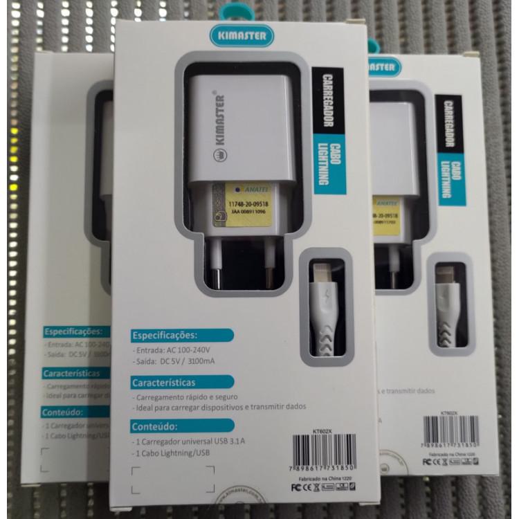 [Kit com 10 Unid]Excelentes Carregadores Usb 3.1A Lightning(iPhone) Kimaster KT602X Branco(ATACADO)