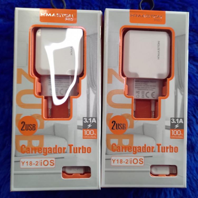 [Kit c/ 10 Un] EXCELENTES CARREGADORES TURBO H-MASTON PARA IPHONE 3.1A Y18-2