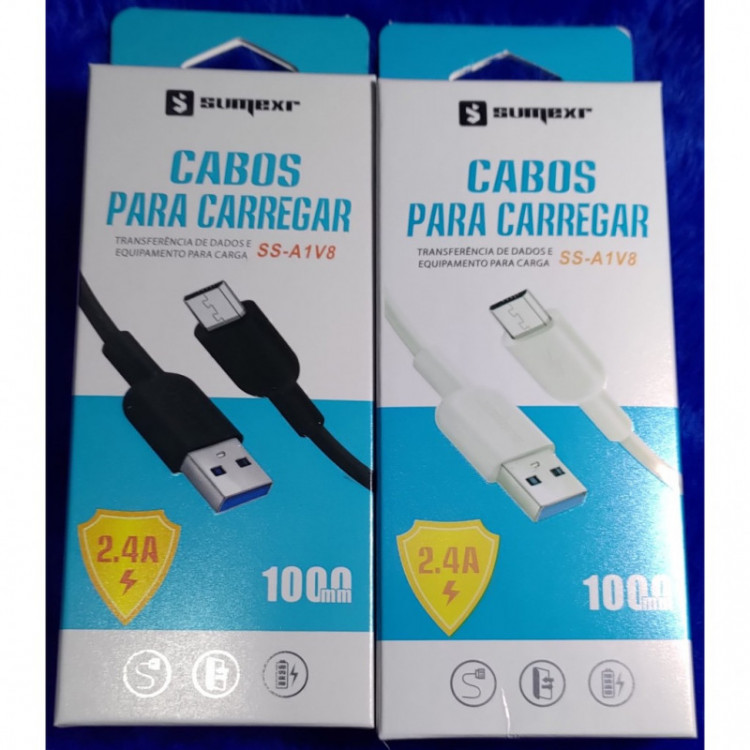 [Kit c/ 10Un]Cabos USB Sumexr SS-A1V8 Micro USB V82.4A Carga Rápida