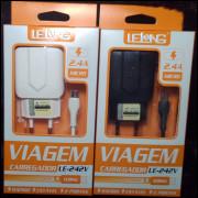 [Kit c/ 10 Un]NovoCarregador Rápido Universal Android Lelong LE-242V 2.4A Micro USB(V8)