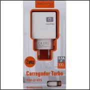 [Kit c/ 10Un]Excelentes Carregadores Turbo H-Maston Y34-2/iOS -2 Entradas Usb 3.1A-Lightning