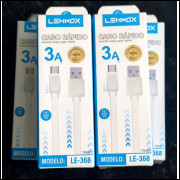 [KIT C/ 10UN]CABO DE DADOS/CARREGAMENTO P/ CELULAR  MICRO USB LEHMOX  3A LE-368