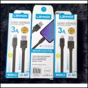 CABO DE DADOS/CARREGAMENTO P/ CELULAR  Lightning(iPhone)LEHMOX  3A LE-467