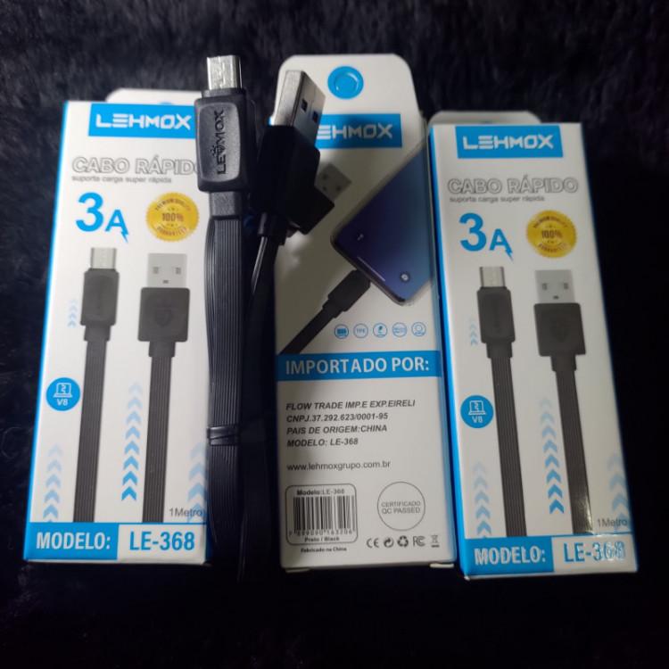 [KIT c/ 10UN]Excelentes Cabos Carregadores Lehmox LE-368 Micro USB(V8)